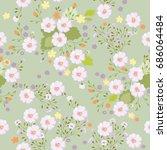 cute pattern in white flowers.... | Shutterstock .eps vector #686064484