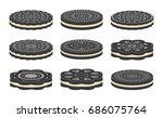vector set of oreo cookie icons ... | Shutterstock .eps vector #686075764