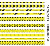 danger ribbons set   death's... | Shutterstock .eps vector #686076760