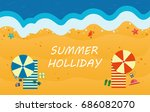 summer beach with waves and... | Shutterstock .eps vector #686082070