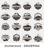 mountain logo vector icons set... | Shutterstock .eps vector #686089066