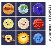 high quality solar system space ... | Shutterstock .eps vector #686089288