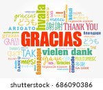 gracias  thank you in spanish ... | Shutterstock .eps vector #686090386