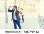 businessman very happy to... | Shutterstock . vector #686090413