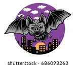 bat night blood sucking bats   Shutterstock .eps vector #686093263