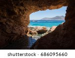 sea cave in ano koufonissi... | Shutterstock . vector #686095660