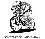 wolf a bike wolf hunters ride... | Shutterstock .eps vector #686103679