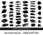 set of black paint  ink brush... | Shutterstock .eps vector #686105764