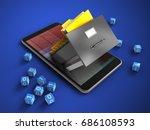 3d illustration of mobile phone ... | Shutterstock . vector #686108593