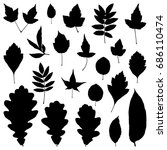 autumn leaves silhouette set. | Shutterstock . vector #686110474