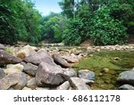 river flows in the jungle of... | Shutterstock . vector #686112178