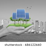 solar cell with tree and grass... | Shutterstock . vector #686122660