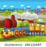 cartoon funny looking steam... | Shutterstock . vector #686126689