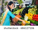 indian woman choosing... | Shutterstock . vector #686127106