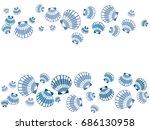 blue seashell frame vector eps... | Shutterstock .eps vector #686130958