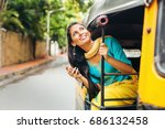 indian woman in rickshaw... | Shutterstock . vector #686132458