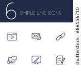 set of 6 engine outline icons... | Shutterstock .eps vector #686156710