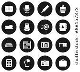 set of 16 office icons set... | Shutterstock .eps vector #686157373