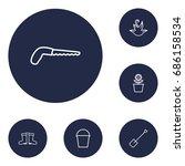 set of 6 household outline... | Shutterstock .eps vector #686158534