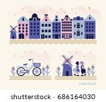 travel netherlands   vector set ... | Shutterstock .eps vector #686164030