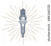 spark plug vector logo design... | Shutterstock .eps vector #686166220