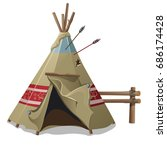 indian tent or wigwam pierced... | Shutterstock .eps vector #686174428