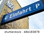 german entry sign to carpark | Shutterstock . vector #686183878