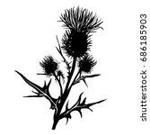 decorative vector thistle ... | Shutterstock .eps vector #686185903