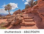 trail leading to grandview... | Shutterstock . vector #686190694