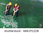 miniature workers on circuit... | Shutterstock . vector #686191228