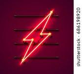 neon sign of lightning... | Shutterstock .eps vector #686198920