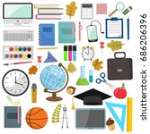 school and education items in... | Shutterstock .eps vector #686206396