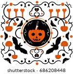 halloween background in flat... | Shutterstock .eps vector #686208448