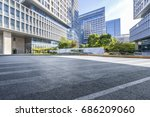 empty road with modern business ... | Shutterstock . vector #686209060