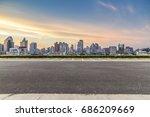 empty floor with modern... | Shutterstock . vector #686209669