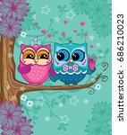 loving couple cute funny... | Shutterstock .eps vector #686210023
