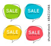 set of flat speech bubble... | Shutterstock .eps vector #686211466