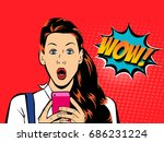 a sexy surprised girl looks... | Shutterstock .eps vector #686231224