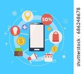 m commerce phone banner. vector ... | Shutterstock .eps vector #686248678