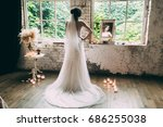 kind of bride from the back ... | Shutterstock . vector #686255038