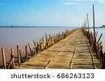 Bamboo Bridge In Cambodia