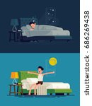 man sleeping at night and... | Shutterstock .eps vector #686269438