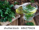 tea with parsley honey and... | Shutterstock . vector #686270626