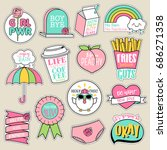 Stock vector set of fashion patches cute pastel badges fun cartoon doodles vector in girl motivation concept 686271358