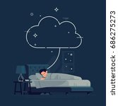 sleeping man having a dream... | Shutterstock .eps vector #686275273
