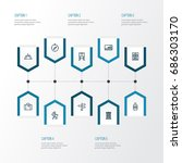exploration outline icons set.... | Shutterstock .eps vector #686303170