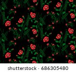 floral seamless pattern of... | Shutterstock .eps vector #686305480