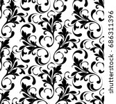 floral seamless pattern. swirls ... | Shutterstock .eps vector #686311396