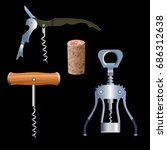 set of vector corkscrews with...
