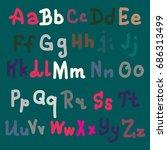 hand drawn alphabet. brush... | Shutterstock . vector #686313499
